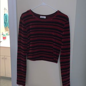 Red and black striped and cropped Vestique shirt